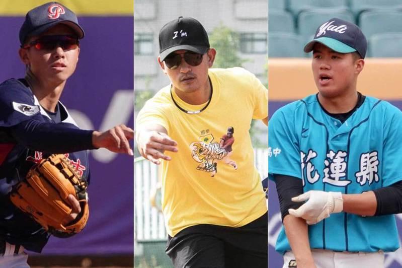 台灣棒壇三位游擊手大物曾子祐、林子偉、林子宸(左至右),很有可能一起在明年的中職選秀會上出現。  聯合報系資料照片