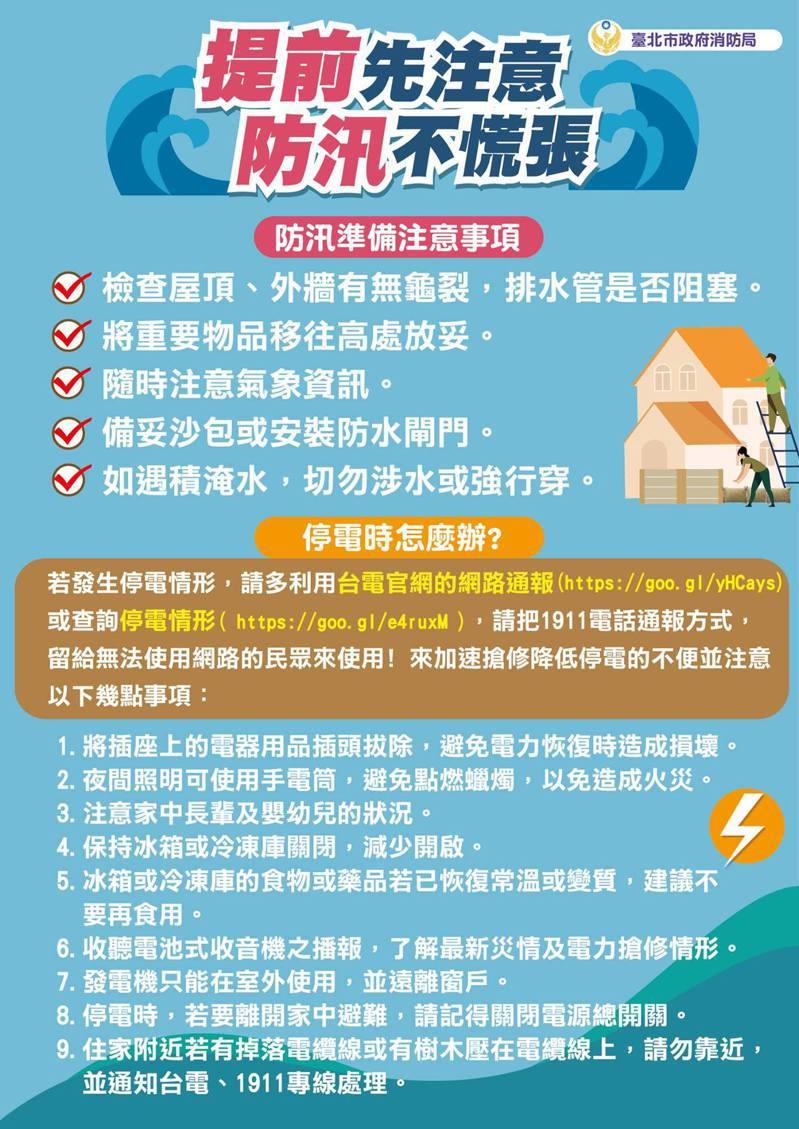 台北市消防局提醒,防汛準備應注意備妥沙包或安裝防水閘門等5大事項。圖/翻攝自台北市消防局臉書