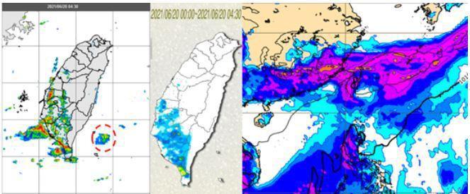 今晨雷達回波合成圖(左圖)顯示,台灣西南沿海有回波消消長長、移入陸地,東南部海面...