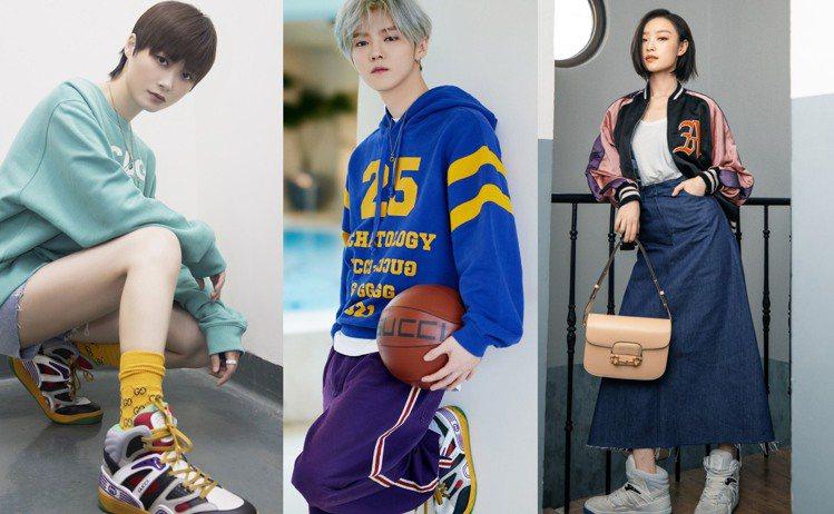GUCCI開發Demetra材質,推出全新Basket系列高筒籃球鞋。圖/GUC...