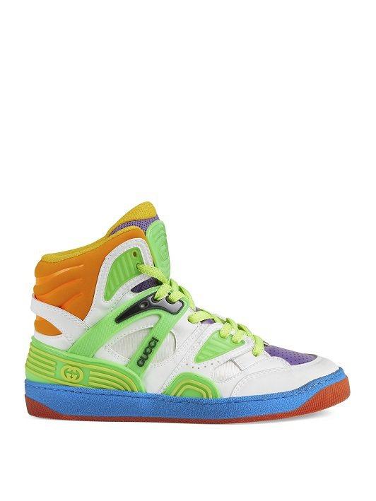 Basket螢光色高筒鞋,35500元。圖/GUCCI提供