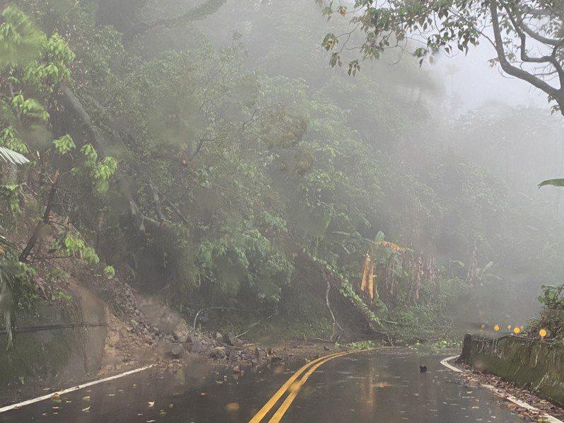 嘉義縣166縣道60.7K處今天上午傳出大量落石坍方,倒木橫躺路中,上山道路一度中斷。記者莊祖銘/翻攝