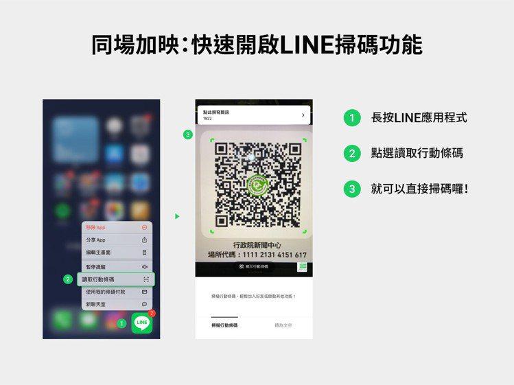 還有快速掃描小撇步,只要長按LINE即可快速開啟掃碼功能。圖/摘自LINE台灣官...