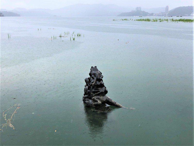 南投縣日月潭昨降下大雨,象徵水情的九蛙疊像開心「吃水」,僅露出四隻半。圖/讀者提供