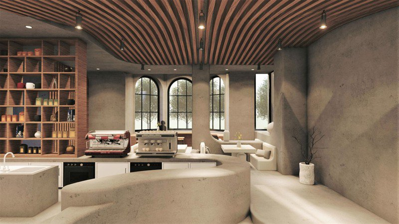 亞洲大學室內設計系林宇翔設計的「川岳藝術」作品,獲得今年巴黎DNA設計獎「裝修類」首獎。圖/亞洲大學提供