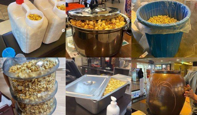 韓國樂天電影院推出「拿出勇氣爆米花」活動響應世界環保日,民眾只需支付6000韓元,可自備任何容器裝滿爆米花回家。圖/取自東亞日報