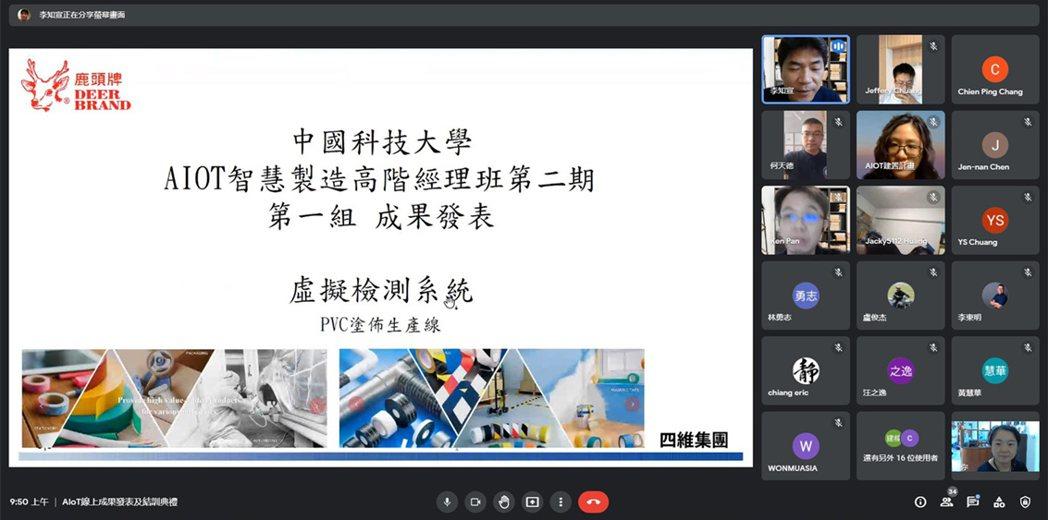 中國科技大學推廣教育AIoT智慧製造高階經理班第二期成果發表暨結訓典禮透過線上平...