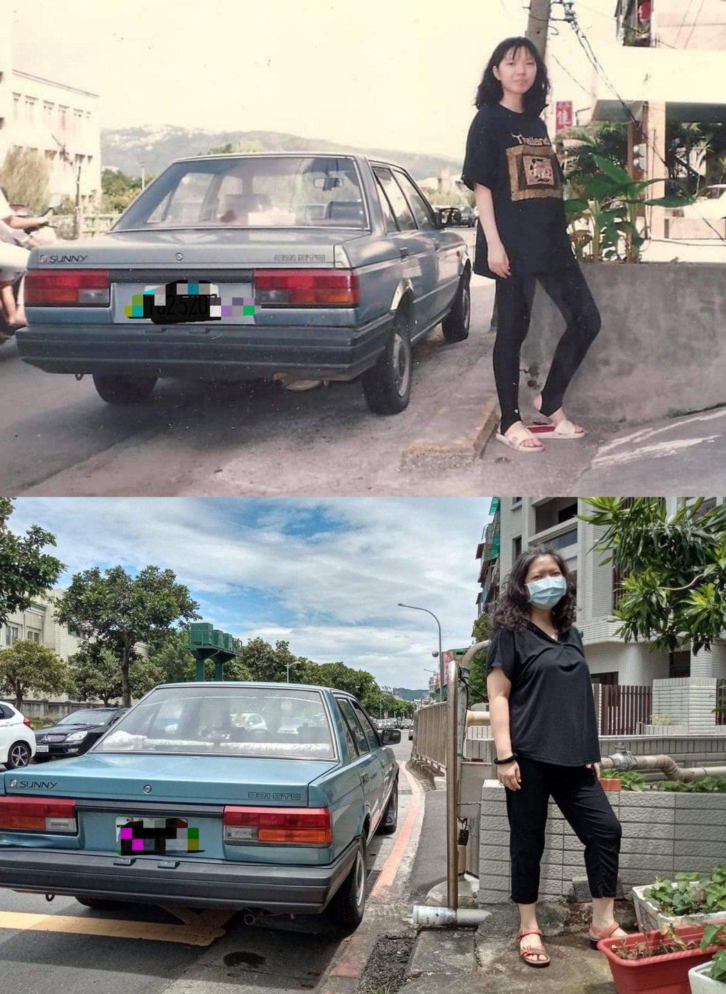 網友劉宏騰在張哲生的臉書上分享這張照片,上是父親30年前買的車子與妹妹的合照,下...