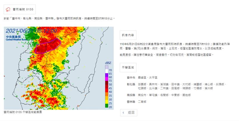 氣象局針對台中市、彰化縣、南投縣、雲林縣發布大雷雨即時訊息,民眾外出多留意。圖/截自中央氣象局