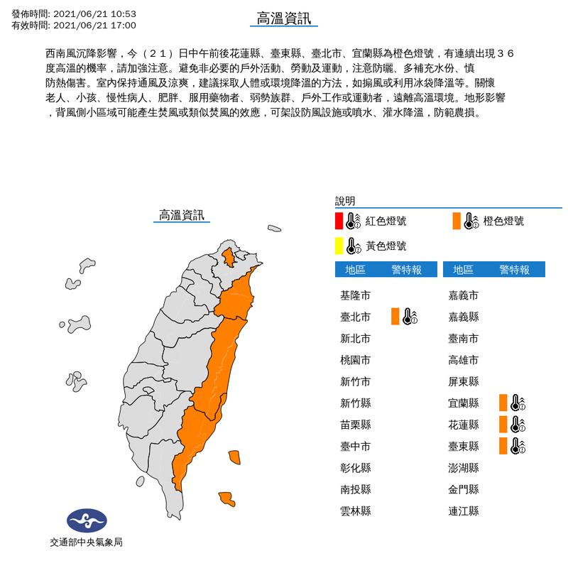 中央氣象局表示,西南風沉降影響,今(21)日中午前後花蓮縣、台東縣、台北市、宜蘭縣為橙色燈號,有連續出現36度高溫的機率,請加強注意。圖/截自中央氣象局