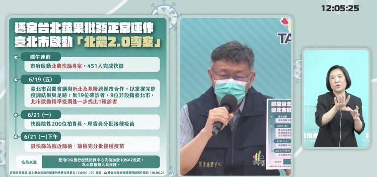 台北市長柯文哲表示,針對北農染疫情況,將進行全面施打疫苗戰術來處理。圖/截自柯文...