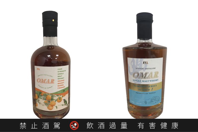 OMAR原桶強度單一麥芽威士忌(柳丁酒桶)(左)與OMAR單一麥芽威士忌豐收系列NO.2 ,獲2021 ISC銀牌肯定。圖/台灣菸酒公司提供。提醒您:禁止酒駕 飲酒過量有礙健康。