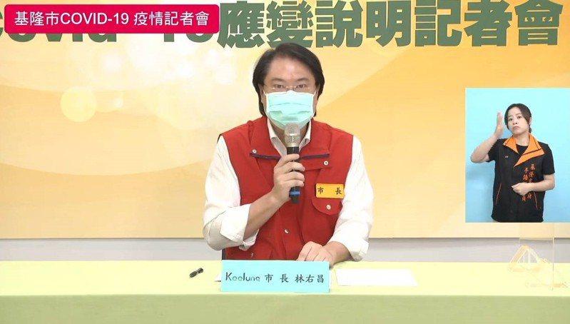 基隆市長林右昌(左)今天表示,北農群聚持續延燒,28日全國能不能「3級降2級」解封,關鍵就在柯市長。圖/取自林右昌臉書直播畫面