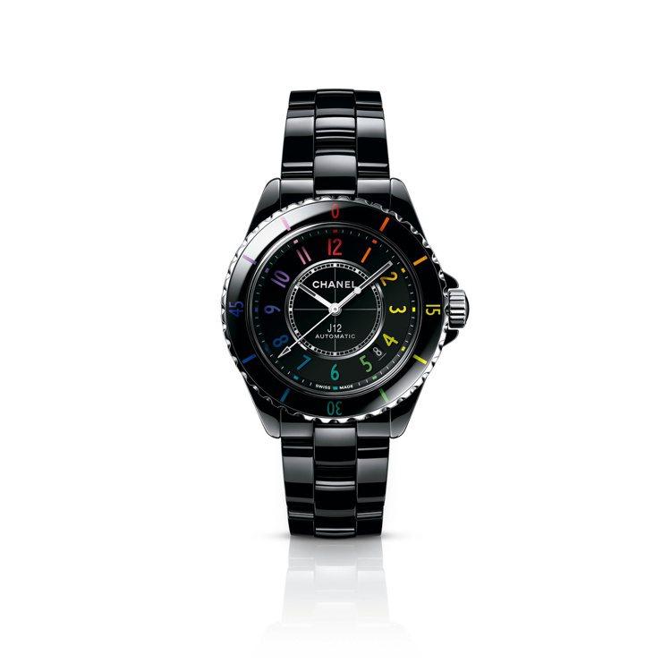 J12 Electro腕表,38毫米黑色抗磨精密陶及精鋼表殼配螢光彩虹色時標、C...