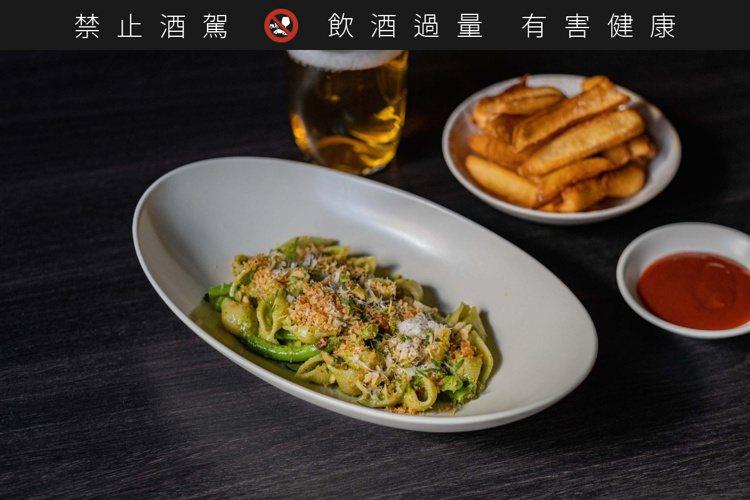 台灣九層塔青醬貝殼麵、西班牙火腿、四季豆個人套餐。圖/WILDWOOD提供。 ...
