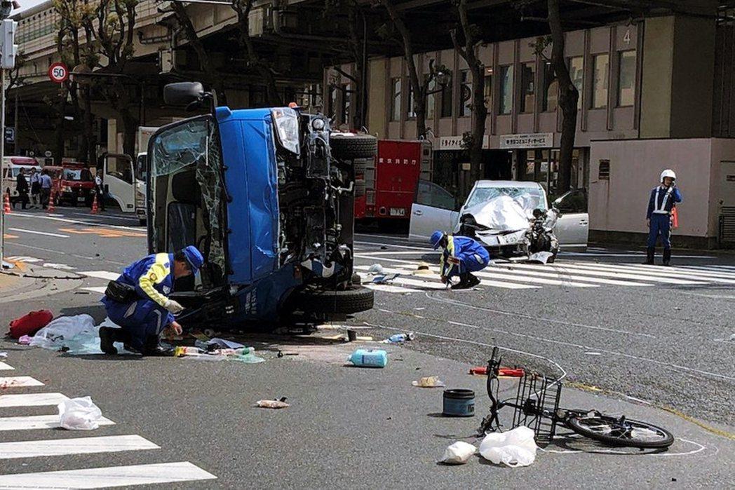 圖/美聯社:2019年4月19日,東京都東池袋路口,當時年齡87歲的駕駛飯塚幸三...