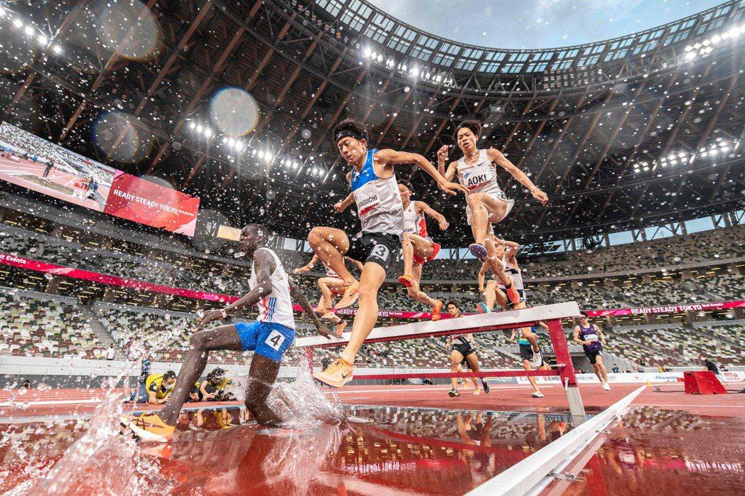 男子組田徑3000公尺障礙賽測試賽。 圖/法新社
