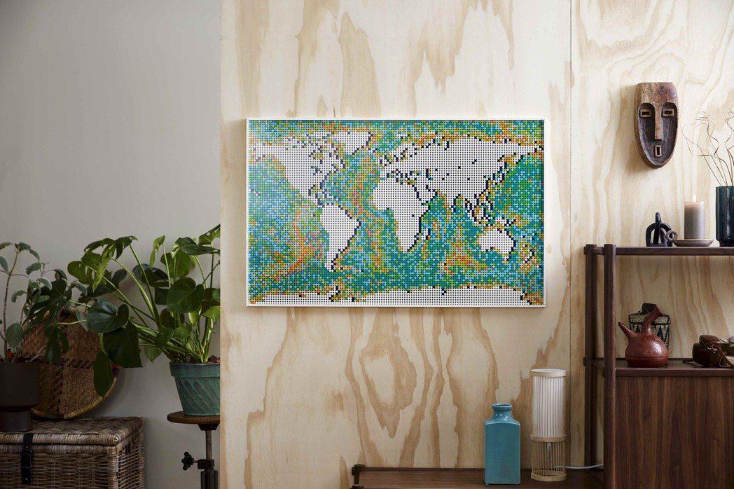 樂高史上最多零件的商品,就是世界地圖。圖/樂高LEGO提供