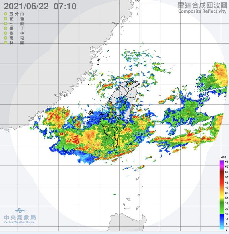 鋒面開始到台灣北部。圖/氣象局
