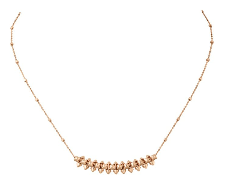 CLASH DE CARTIER玫瑰金項鍊中型款,10萬8,000元。圖/卡地亞...