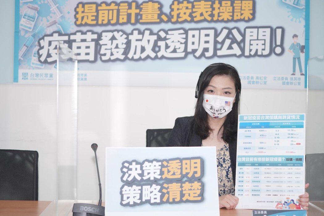 民眾黨團副總召高虹安。圖/民眾黨團提供