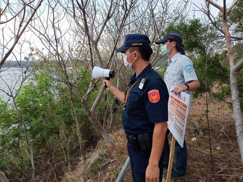 國家公園各風景管制區,每天都有員警巡邏,勸導民眾防疫期間勿群聚。圖/保七總隊提供