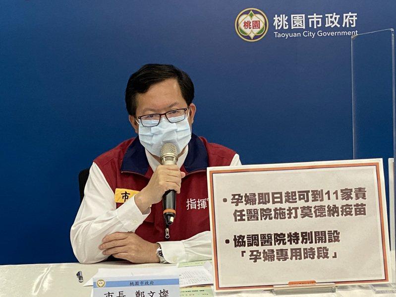 桃園市長鄭文燦宣布孕婦即日起可到11家責任醫院掛號接種莫德納疫苗。圖/市政府提供