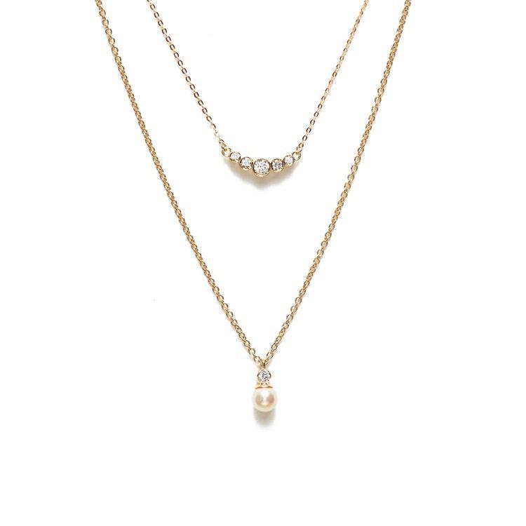 ARTISMI「喜極而泣」層次寶石珍珠雙鍊,11,500元。圖/ARTISMI提...