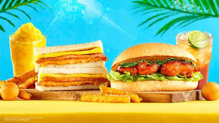 Q Burger新推出塔香三杯烤雞腿堡、花生肉蛋吐司等台式早餐新品。圖/Q Bu...