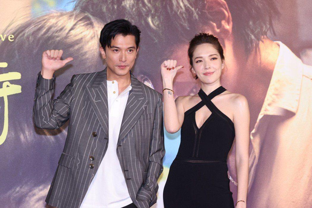 邱澤(左)、許瑋甯(右)主演的「當男人戀愛時」勇奪大陸上周電影票房冠軍。聯合報系