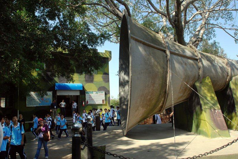 當年大陸向金門官兵心戰喊話,號稱世界最大的喇叭,長5公尺、直徑有2.86公尺,聲音聽說可達12公里,是遊客必看的戰爭遺跡。圖/聯合報系資料照片