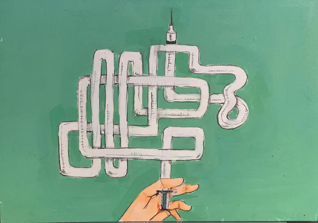 《疫苗迷宮》。反映出各界為疫苗爭論不休的時事議題。 圖/詹仁雄提供