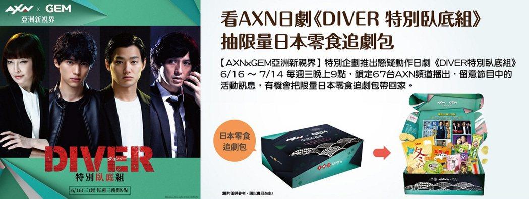 鎖定台灣大寬頻AXN日劇《DIVER特別臥底組》,就抽限量零食追劇包。業者/提供
