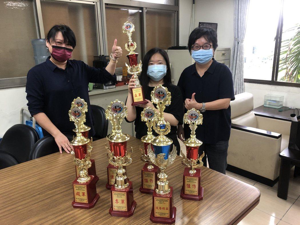 崑大視訊系跨域人物設計,中華奧林匹克杯美業賽奪8獎。 崑山科大/提供。