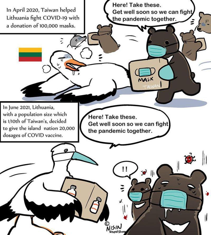 漫畫家「蠢羊與奇怪生物」22日以漫畫「黑熊與白鸛雪中送炭」表達謝意。圖擷自「蠢羊與奇怪生物」臉書