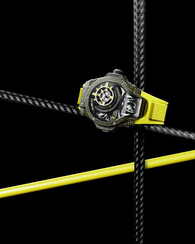 MP-09雙軸陀飛輪3D彩色碳纖維腕表黃色款,621萬3,000元。圖/宇舶表提...