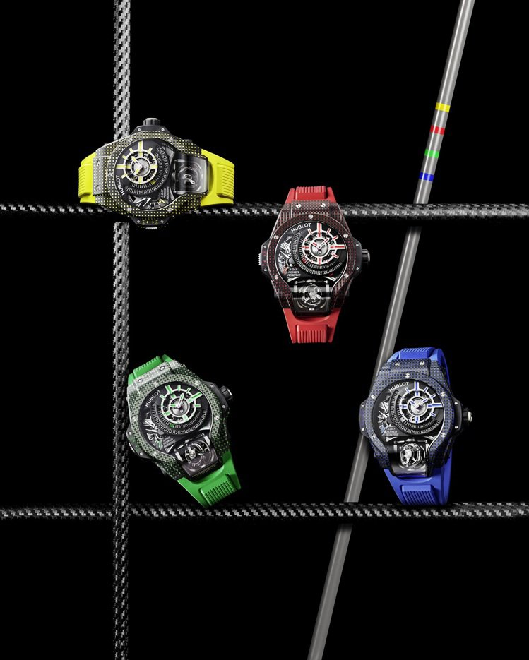 MP-09雙軸陀飛輪3D彩色碳纖維腕表共推出紅、黃、藍、綠4款,各621萬3,0...
