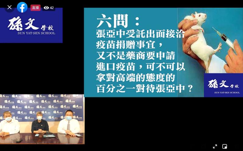 孫文學校校長張亞中、國民黨前立委蔡正元及孫文學校執行長姚大光今天舉行記者會,向蔡政府提出「六問」。圖/取自孫文學校臉書直播