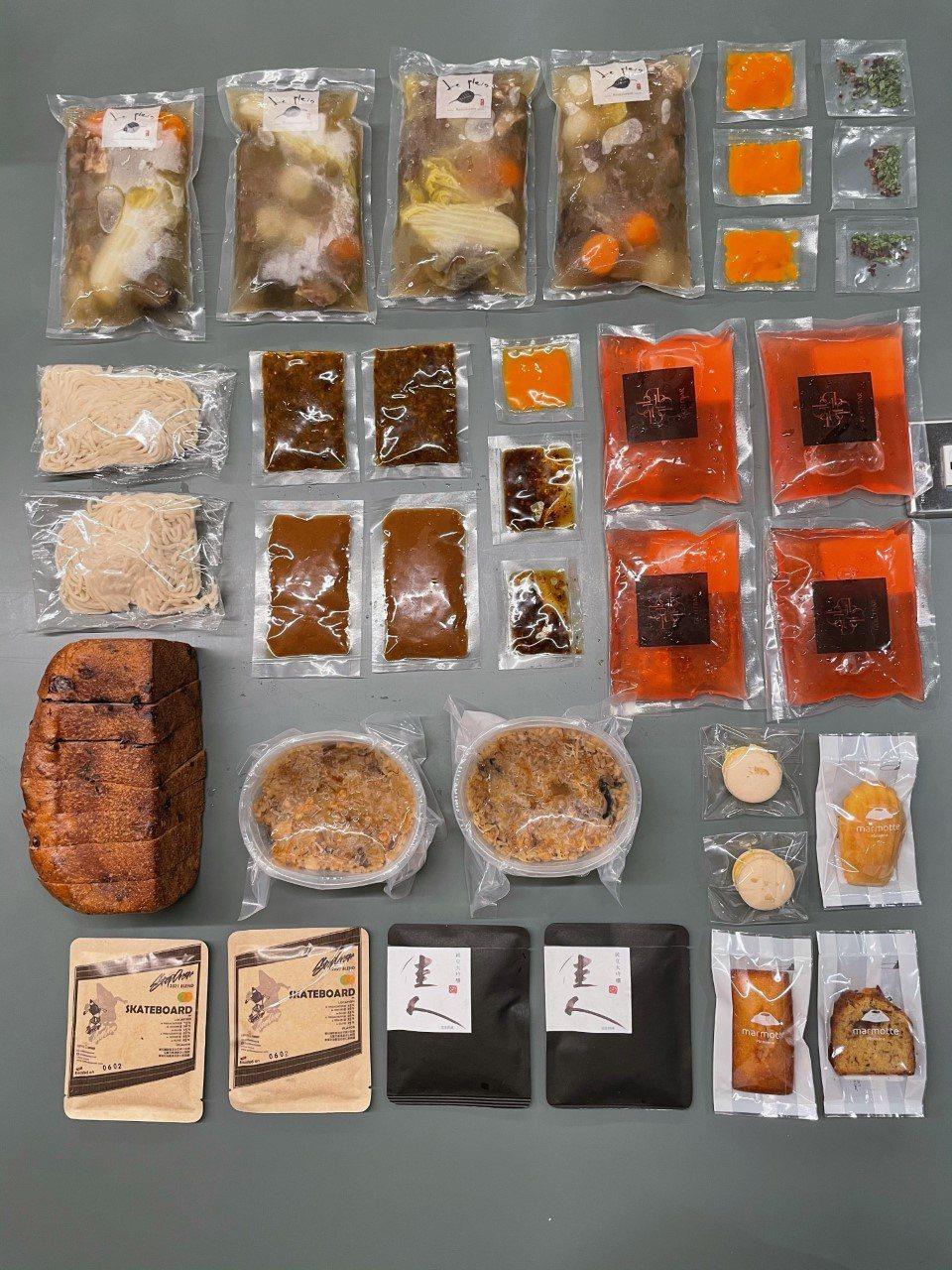 「台中防疫備戰糧包 MRE 2.0」從主食、小食、甜點到飲品,一應俱全。圖/福嘀...
