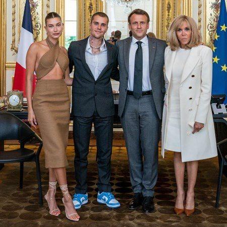 小賈斯汀在IG放上與法國總統夫妻的合照,吸引超過500萬個讚。圖/取自IG