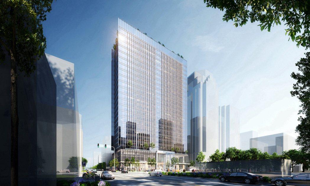 麗寶集團名軒開發高捷橘線O4市議會站開發案建築外觀示意圖。圖/麗寶集團提供