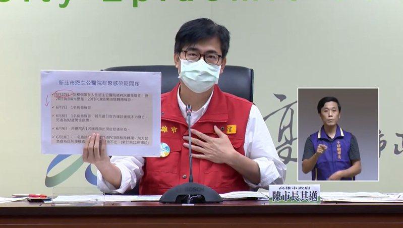 高雄市長陳其邁把高雄仁武區家族感染矛頭指向新北。圖/取自陳其邁臉書