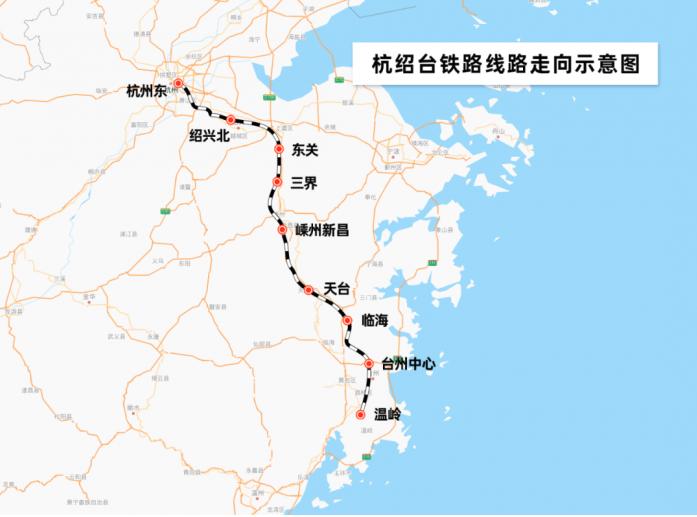 杭紹台鐵路連接浙江杭州、紹興和台州三地,線路設計時速350公里。(新浪微博照片)