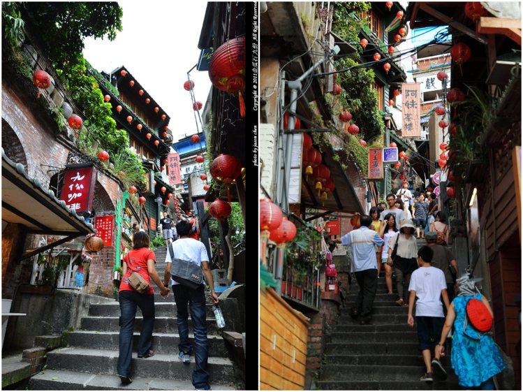 前往「阿妹茶樓」,九份老街人氣必拍階梯場景。圖/CC BY jason chen...