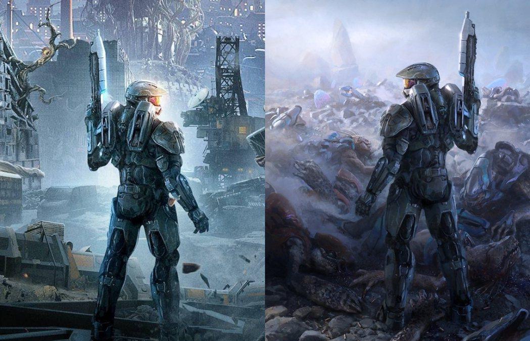 左為《天馬行空》海報,右為士官長官方概念圖。