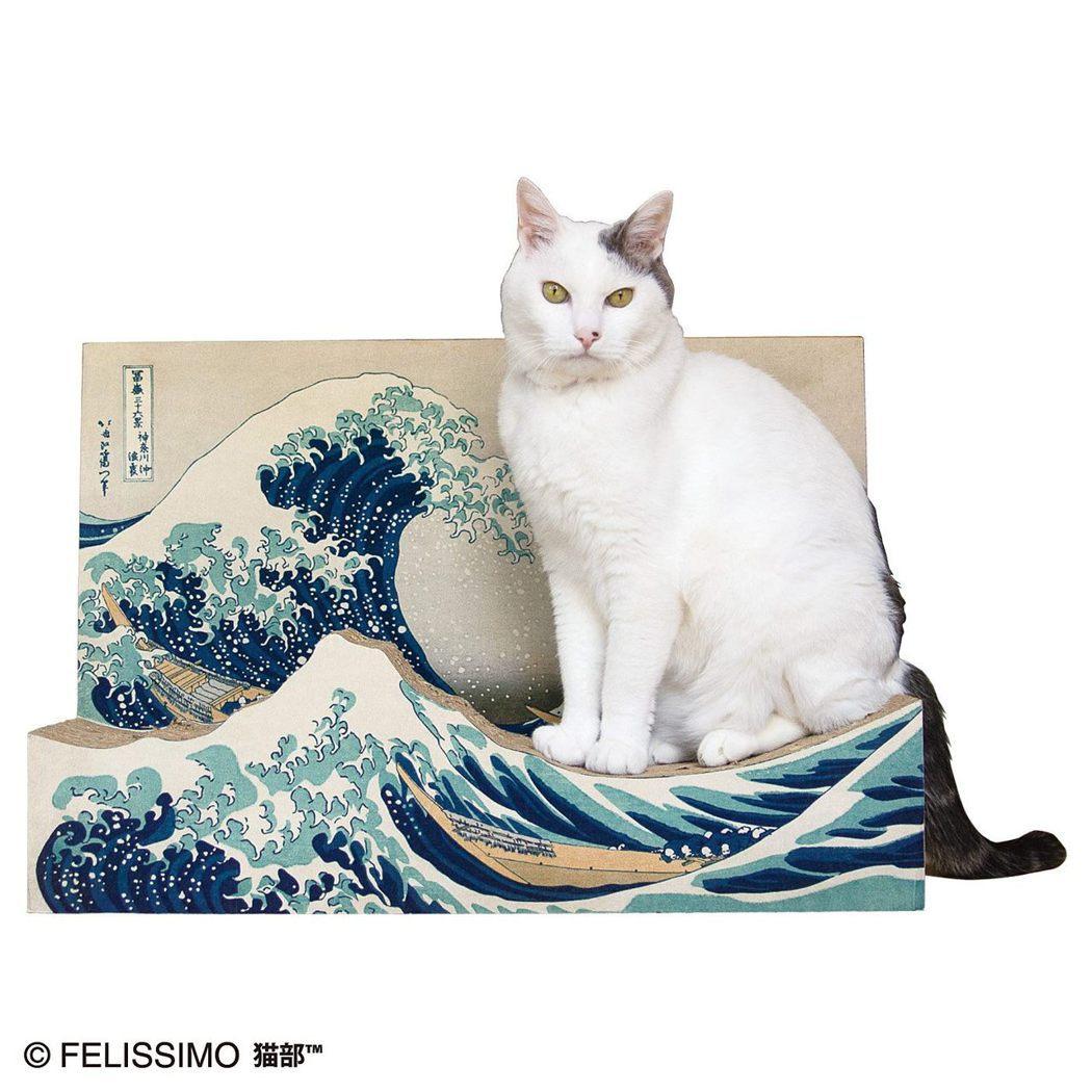 《神奈川沖浪裏》貓抓板,將海浪形狀作成貓抓板的弧形。圖/摘自felissimo貓...