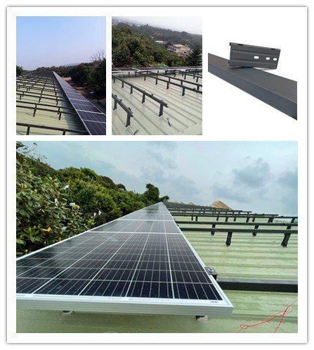 「光支彩」烤漆鋼板製成太陽能支架,應用實例。  燁輝/提供