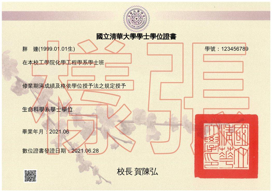 清大數位學位證書樣張。圖/清大提供