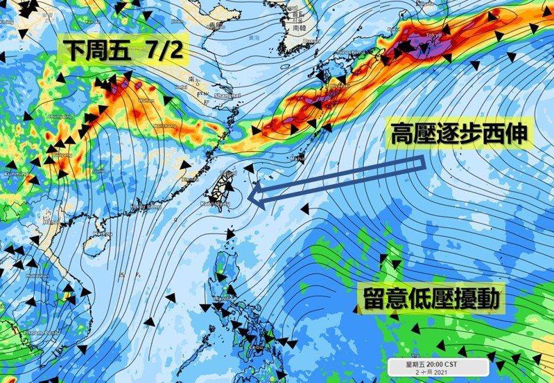 下周五高壓逐步西伸,留意低壓擾動。圖/取自「氣象達人彭啟明」臉書粉專
