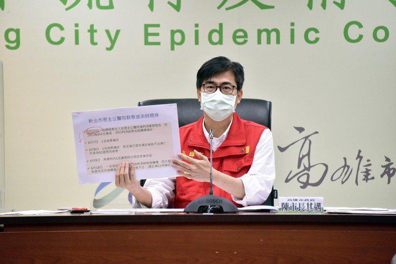 高雄市長陳其邁昨天拉高分貝砲轟新北市疫調不確實,造成防疫破口。圖/高雄市政府提供